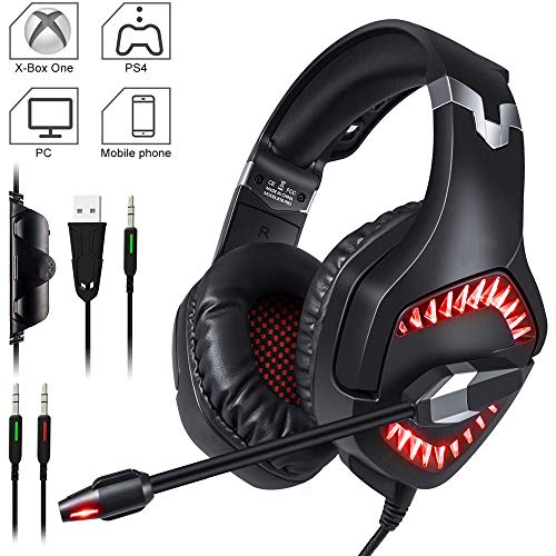 TAOXUE Gaming Headset Für PS4 Xbox One PC, Rauschunterdrückung Over-Ear LED PS4 Headset - Kristall Stereo-Klang Gamer Kopfhörer PS4 Mit Sensiblen Mikrofon & Intensiven Bässen Für Laptop Mac,Rot