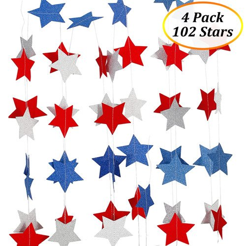 Lumiparty Patriotic Decorations Hanging Streamers 4 Pack 4th Of July Red