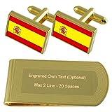 Bandera España tono Oro gemelos Money Clip grabado Set de regalo