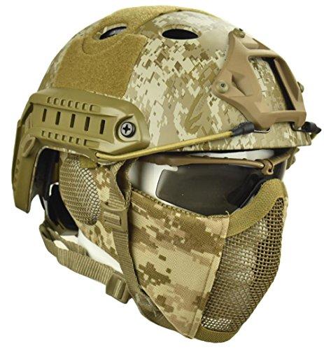 Jadedragon PJ Tactical Fast Helmet & Protect Ear Foldable Double Straps Half Face Mesh Mask & Goggle (Desert Digital)