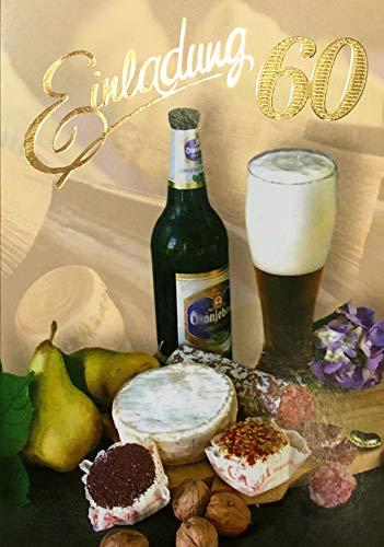 Uitnodigingskaarten 60e verjaardag vrouw man met binnentekst motief bier broodtijd 10 vouwkaarten DIN A6 staand met witte enveloppen in set verjaardagskaarten uitnodiging 60 verjaardag man vrouw K215