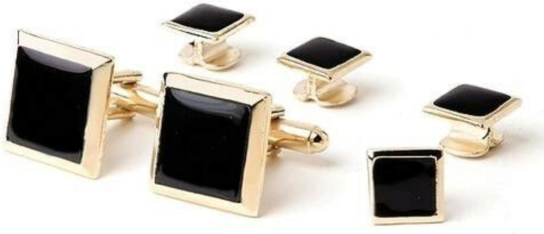 Polished Square Black Onyx Studs and Cufflinks Gold Trim