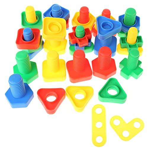 SHURROW Insertar Bloques Tornillo Bloques de construcción Tuerca Juguetes Niños Educativos Montessori Juguete Bola de Rebote