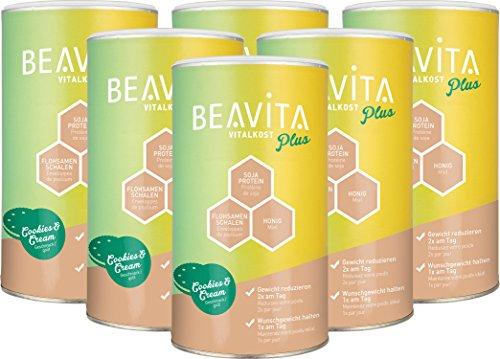 BEAVITA Vitalkost Plus - Cookies & Cream Pulver 6x 572g - Diät Shake für unbeschwertes Abnehmen - 4 Wochen Vorratspaket mit Diätplan - Gewicht reduzieren - Laktosefrei - vitaminreicher Mahlzeitersatz