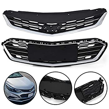 Chrome Front Bumper Upper + Lower Grille Assembly Compatible For Chevy Cruze 2016 2017 2018 ABS Honeycomb Mesh Grille Replacement