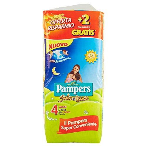 Pampers Sole & Luna Maxi Windeln, Größe 4(7–18kg), 2Packungen 21[42Windeln]
