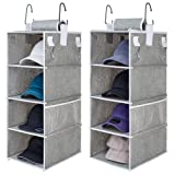 "StorageWorks Hat Rack 8-Shelf Hanging Hat Organizer, Two Separate 4-Shelf Hat Storage, Baseball Cap Organizer for Closet, Canvas, Gray, 12""D x 9""W x 50""H"