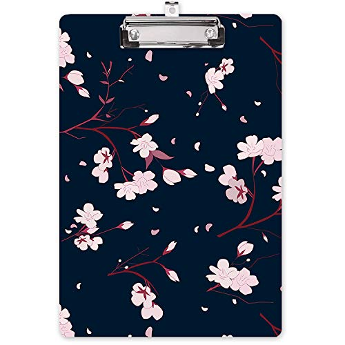 """Hongri Clipboard, Fashion Design Letter Size Wooden Clipboards for Students, Women, Man and Kids, Cute Custom Pattern, A4 Standard Size 9"""" x 12.5"""" with Low Profile Metal Clip, White Floral"""