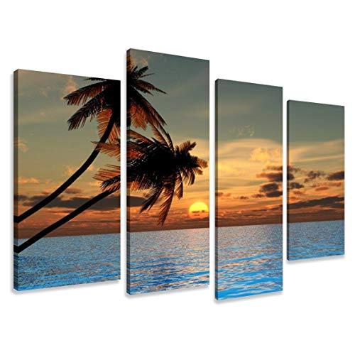 Visario Leinwandbilder 6144 Bild auf Leinwand Palmen, 130 x 80 cm, 4 Teile