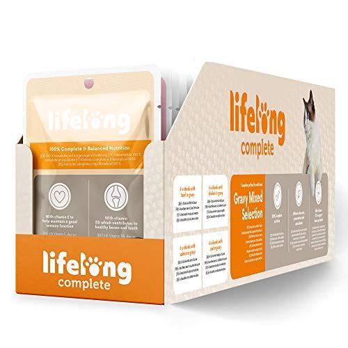 Marque Amazon- Lifelong Aliment complet pour chats adultes- Sélection mixte en sauce, 2,4 kg (24 sachets x 100g)