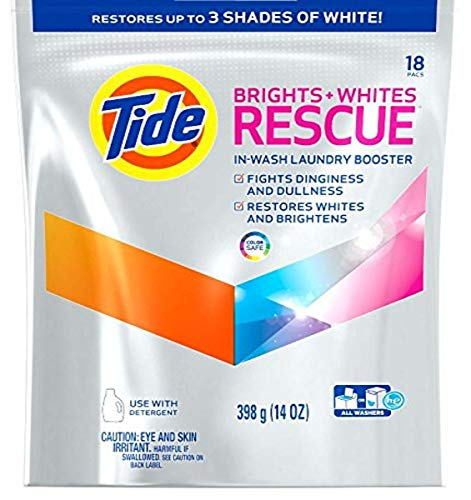 Tide Brights and Whites Rescue In-Wash Laundry Booster, 18 Count