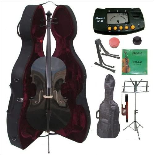 Merano 4 4 Full Size Black Cello with Hard Case with Bag and Bow 2 Sets of Strings Cello Stand product image