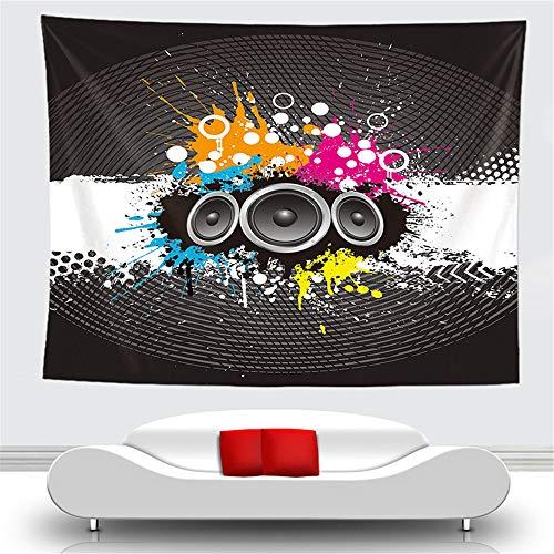 Tapisserie Wandbehang Polyester Druck Grün Moderne Musik Schwarz Audio Verstärker Einfache Dekoration Wohnzimmer Schlafzimmer Küche Schlafsaal, 150 cm * 130 cm