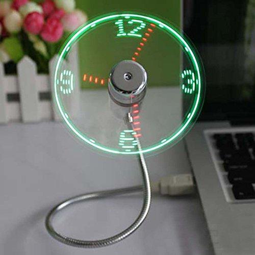 VANKER Ventilador portátil mini USB LED de reloj, una pieza única de regalo USB reloj ventilador con función de visualización en tiempo real para computadora portátil ventilador de refrigeración