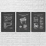 SXXRZA Póster de Arte 3 Piezas 40x60 cm sin Marco Cuadro Retro Hecho a Mano Piano órgano Maestro de música formación Escolar decoración Pintura Estilo Industrial Pintura de Pared