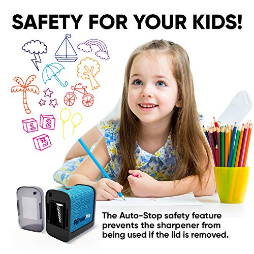 POWERME Electric Pencil Sharpener - Pencil Sharpener Battery Powered for Kids, School, Home, Office, Classroom, Artists – Battery Operated Pencil Sharpener For Colored Pencils, Ideal For No. 2 (Blue) Photo #2
