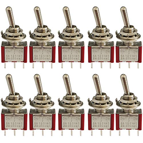 CESFONJER 10 Piezas Mini Interruptor de Palanca, AC 125V 6A / 250V 2A ON-Off-ON 3 Pines 3 Posiciones SPDT Interruptor Rocker Switch de (Rojo)