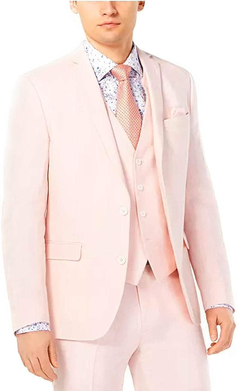 Bar III Men's Slim-Fit Linen Pink Suit Jacket,