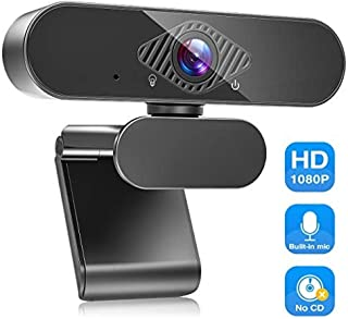 USB Webcam with Microphone, 1080P HD Streaming Webcam for PC,MAC, Laptop, Plug and Play Web Camera for YouTube,Skype Video Calling, Studying, Conference, Gaming with Rotatable Clip