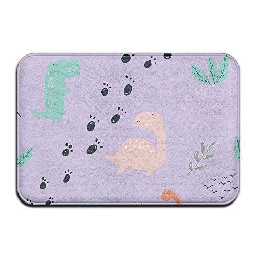 dingjiakemao deurmatten antislip buitendeur matten - binnenzijde tapijten - zachte badkamer mat (schattige dinosaurus planten paars) 23,6 x 15,7 inch (40x60cm)