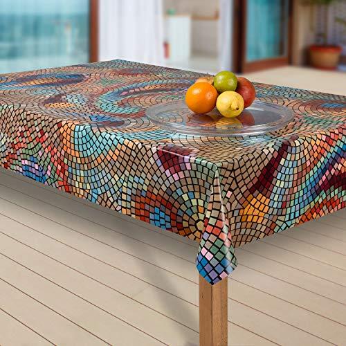 laro Wachstuch-Tischdecke Abwaschbar Garten-Tischdecke Wachstischdecke PVC Plastik-Tischdecken Eckig Meterware Wasserabweisend Abwischbar G03, Muster:Mosaik bunt, Größe:140x200 cm