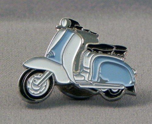 Mainly Metal Metall Emaille Brosche Scooter Lambretta–Licht blau & weiß