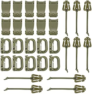 BOOSTEADY Kit of 30 Attachments for Molle Bag Tactical Backpack Vest Belt,D-Ring Grimloc Locking Gear Clip, Web Dominator Elastic Strings, Strap Management Tool Buckle in Zippered Pouch