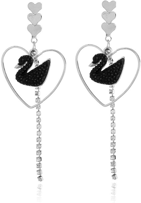 JSGJZB Earring 2 Pairs of Earrings Jewelry Temperament OL Heart Tassel Earrings swan Earrings