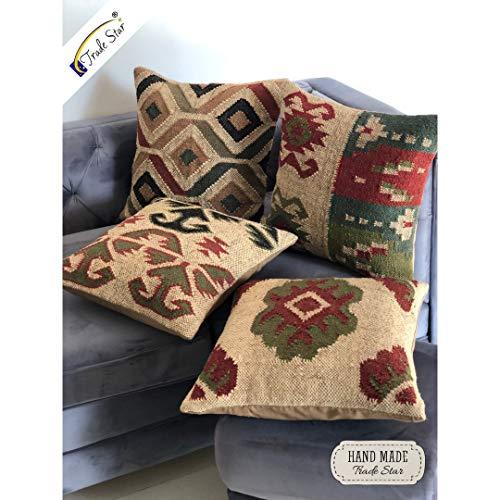 Trade Star - Juego de 4 fundas de cojín de yute,funda de cojín kilim,Cojín de decoración del hogar para la habitación de la cama,Almohada decorativa india,funda de cojín hecha a mano