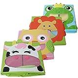 4 Stück TE-Trend Textil Faltbox Spielbox Tiermotive Frosch Affe Eule Kuh Aufbewahrung Truhe für Spielzeug faltbar 28 x 28 x 28 cm - 2
