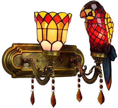 Leifeng Tower Lámpara de pared estilo Tiffany con 2 cabezas, lámpara de pared de vidrio manchado con colgante de cristal de cristal, lámpara de lectura de la mesita de noche, faro de espejo de baño