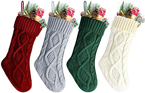 Kunyida Pack 4,14 Inches Unique Burgundy, Green Ivory, Gray, Knit Christmas Stockings