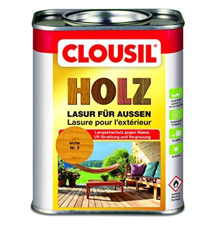 CLOUsil Holzlasur Holzschutzlasur für außen eiche Nr. 2, 0.75 L: Wetterschutz, UV-Schutz, Nässeschutz und Schimmel für alle Holzarten - in verschiedenen Farben