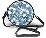BAODANLA Bolso redondo mujer Hibiscus Flowers Abstract Background Women Soft Leather Round Shoulder Bag Zipper Circle Purses Sling Bag