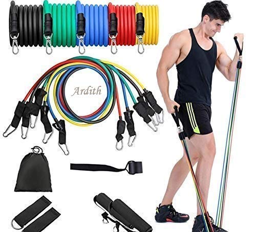 Ardith Resistance Bands Set for Men & Women(11Pcs), 5 Pieces Fitness Workout Bands for Men with Fitness Tension Bands,Door Anchor & Carry Bag-Home Gym,Handles and Ankles for Resistance Belt