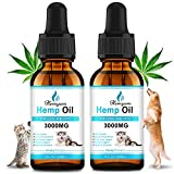 (2-Pack) Hemp Oil Dogs Cats 3000MG Stress Relief, Separation Anxiety, 100% Organic Calming Drops, Omega 3-6-9 for Joint Pain, Pet Relief Hip Joint Health