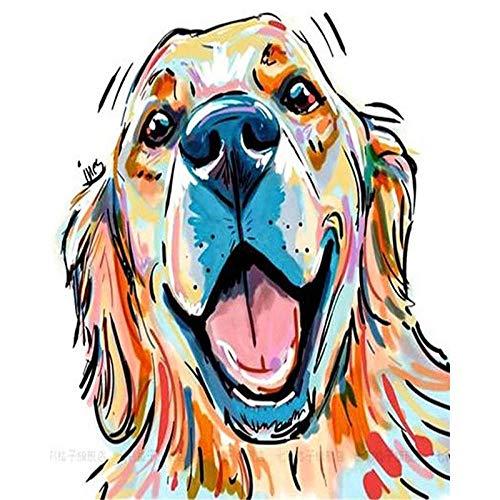 Zhxx Schilderen door cijfers voor volwassenen op canvas glimlach gouden hond hoofd dier Acryllische bruiloft Decoratie Art Picture Gift 40X50Cm With Frame