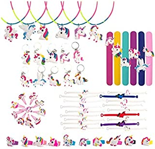 60 Pcs Unicorn Party Favors, Rainbow Unicorn Necklace, Bracelets, Rings, Keychains, Hairpin, Toys Prizes Gifts for Kids, B...