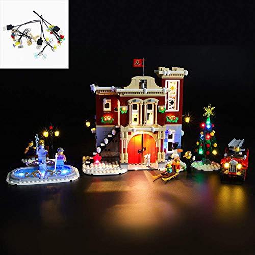 Juego de luces LED USB DIY Compatible con la estación de bomberos Lego Winter Village 10263, kit de luces LED para bloques de construcción (estación de bomberos Winter Village) Modelo Regalos de Navid