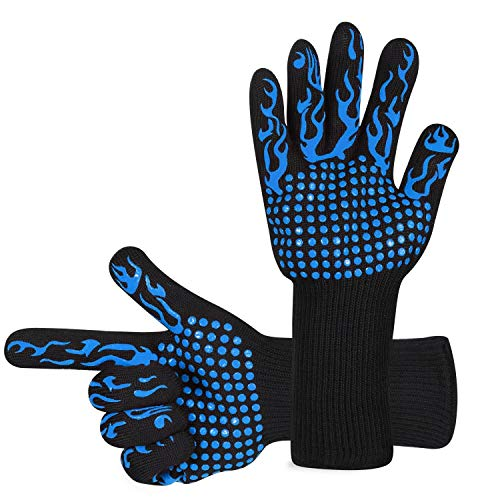 Awekris Oven Gloves Heat Resistant, BBQ Grilling Gloves for Cooking Kitchen Baking Fireplace Grilling WorkPlace Glove (Blue)