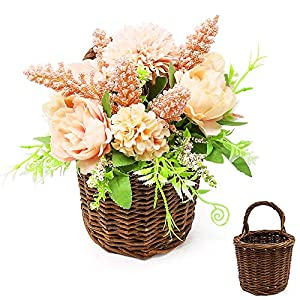 ANZOME Artificial Hanging Plants, Realistic Fake Hanging Silk Flowers Bouquet for Indoor Outdoor Wall Home Room Garden Wedding Garland Decoration(Pink)(Basket Included)