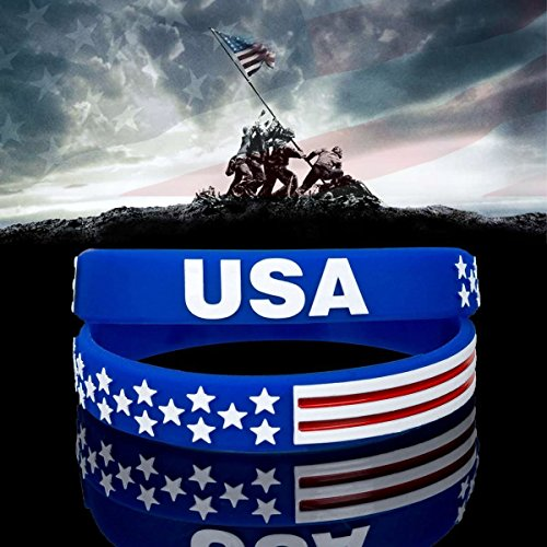 Sainstone USA Silicone Bracelets Wristbands (2 Pcs) American Spirit Americanism Partriotic Sports...
