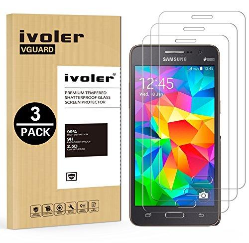 ivoler [3 Unidades] Protector de Pantalla Compatible con Samsung Galaxy Grand Prime G530, Cristal Vidrio Templado Premium [Dureza 9H] [Anti-Arañazos] [Sin Burbujas]