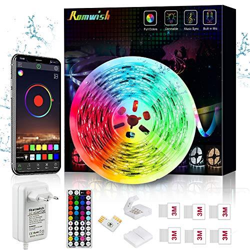 Tiras LED Impermeable 5M, Romwish IP65 5050 SMD RGB 150 LEDs con Control Remoto RF de 44 Botones &...