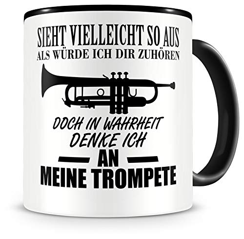 Samunshi® Trompete Tasse mit Spruch Geschenk für Musiker Tasse Trompete Becher Kaffeebecher Lustige Tassen zum Geburtstag Teetasse schwarz 300ml
