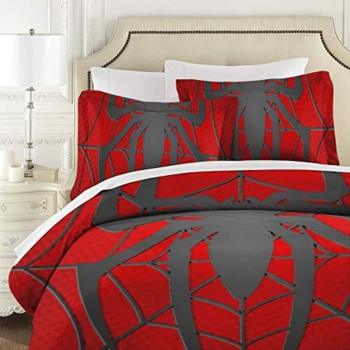 Spiderman - Colcha de patchwork para cama de tamaño super king (3 piezas, 100% algodón, con fundas de almohada, reversibles)