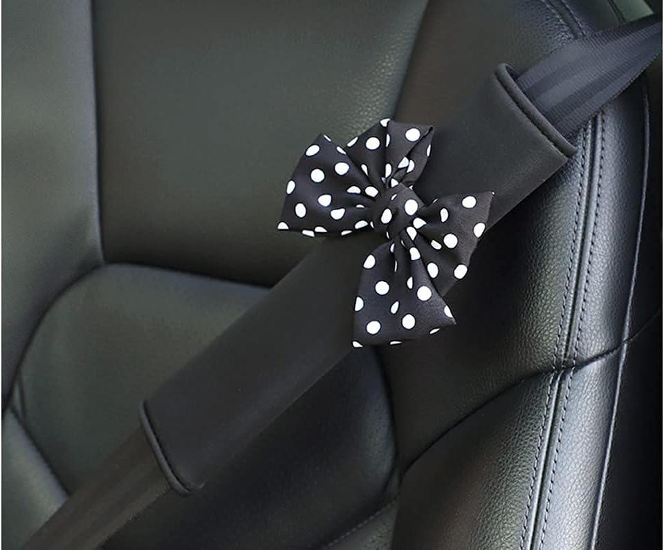 2 Packs Black Polka Dot Bow Seat Belt Cover Shoulder Seatbelt Pad for Adults Youth Kids Girls,Universal Bow Car Seat Belt Pads Backpack Straps,Soft Comfort Ice Silk Cloth(Black Polka dot Bow)
