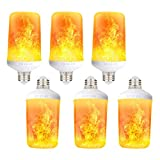 LED Flame Effect Light Bulb - 4 Modes with Upside Down Effect - E26 Base Simulated Fire Flicker Flame LED Bulbs for Festival Hotel Bar Party Decoration - 6 Pack