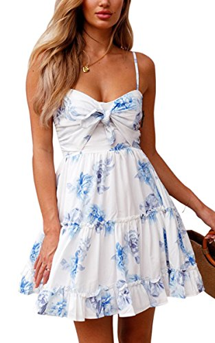 ECOWISH Womens Dresses Floral Spaghetti Strap Tie Knot Front Flowy Pleated Mini Swing Dress White M