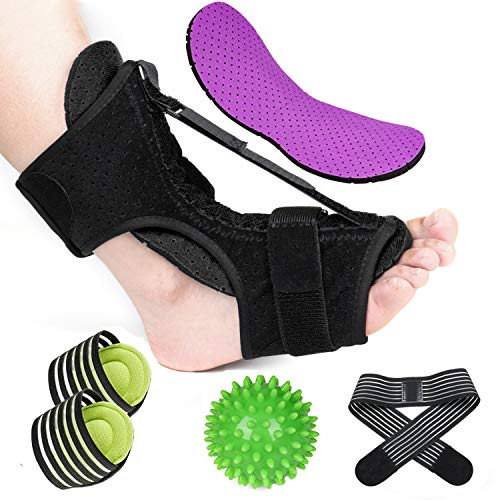 Plantar Fasciitis Night Splint Kit, Adjustable Foot Brace with 2 Replaceble Cushions, Improved Dorsal Night Splint for Effective Relief from Plantar Fasciitis Achilles Tendonitis Ankle Pain(7PCS)